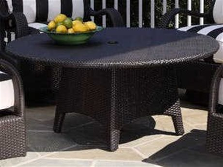 Braxton Culler Outdoor Brighton Pointe Charcoal 42'' Wide Wicker Round Umbrella Hole Chat Table BCO435070A