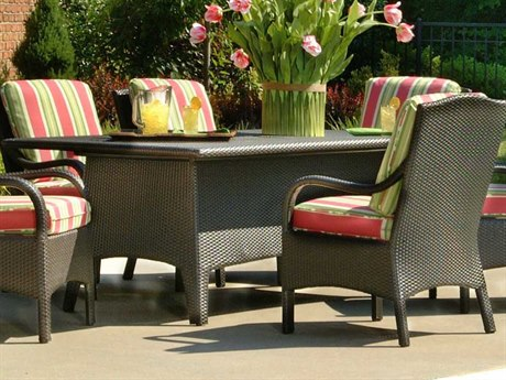 Braxton Culler Outdoor Brighton Pointe Charcoal 74'' Wide Wicker Rectangular Dining Table PatioLiving
