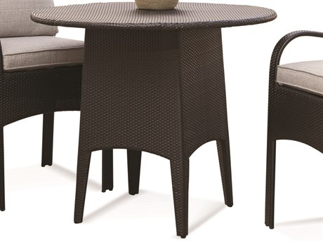 Braxton Culler Outdoor Brighton Pointe Charcoal 42'' Wide Wicker Round Dining Table PatioLiving