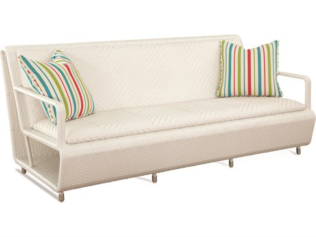 Braxton Culler Outdoor Montauk Frost White Wicker Cushion Sofa BCO448011