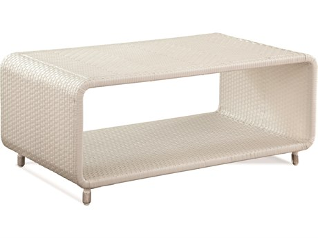 Braxton Culler Outdoor Montauk Frost White 42'' Wide Wicker Rectangular Coffee Table BCO448072