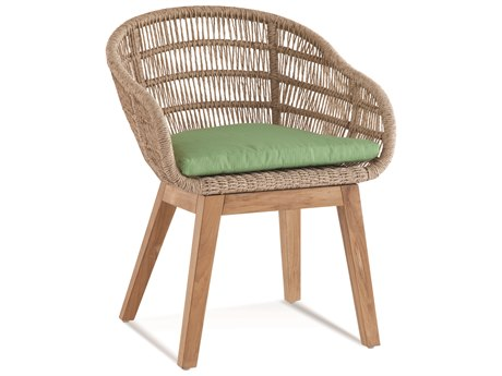 Braxton Culler Outdoor Blue Rock Natural Top, Teakwood Base Teak Wicker Cushion Dining Chair PatioLiving
