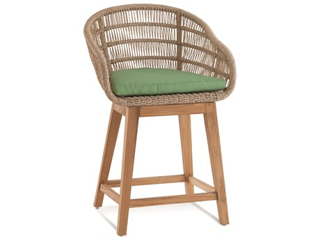 Braxton Culler Outdoor Blue Rock Natural Top, Teakwood Base Teak Wicker Cushion Counter Stool PatioLiving