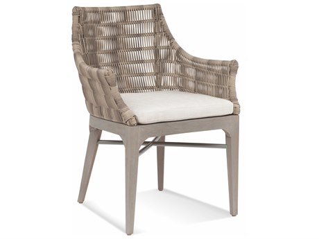 Braxton Culler Outdoor Gulfport Driftwood Teak Wicker Cushion Dining Chair PatioLiving