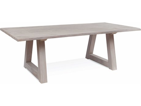 Braxton Culler Outdoor Sag Harbor Driftwood 102'' Wide Teak Rectangular Dining Table PatioLiving