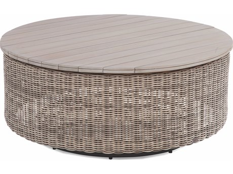Braxton Culler Outdoor Paradise Bay Driftwood 42'' Wide Teak Wicker Round Chat Table PatioLiving