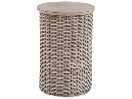 Braxton Culler Outdoor Paradise Bay Driftwood 16'' Wide Teak Wicker Round End Table PatioLiving