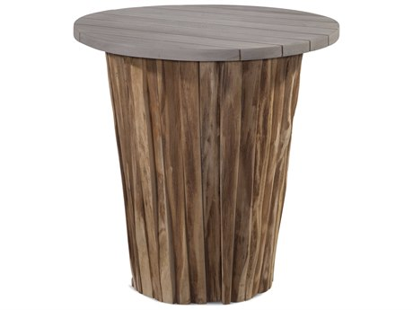 Braxton Culler Outdoor Brunswick Driftwood / Teakwood 23'' Wide Teak Round End Table PatioLiving