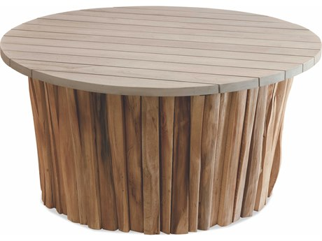 Braxton Culler Outdoor Brunswick Driftwood / Teakwood 36'' Wide Teak Round Coffee Table PatioLiving