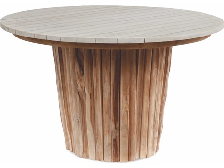 Braxton Culler Outdoor Brunswick Driftwood / Teakwood 48'' Wide Teak Round Dining Table PatioLiving