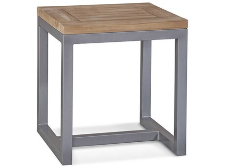 Braxton Culler Outdoor Alghero Teak / Gnmetal 20'' Wide Aluminum Square End Table PatioLiving