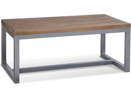 Braxton Culler Outdoor Alghero Teak / Gnmetal 42'' Wide Aluminum Rectangular Coffee Table PatioLiving