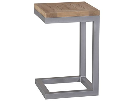 Braxton Culler Outdoor Alghero Teak / Gnmetal 15'' Wide Aluminum Square End Table PatioLiving