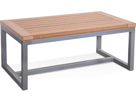 Braxton Culler Outdoor Alghero Antique Mahogany / Gunmetal 42'' Wide Aluminum Recycled Plastic Rectangular Coffee Table BCO496072
