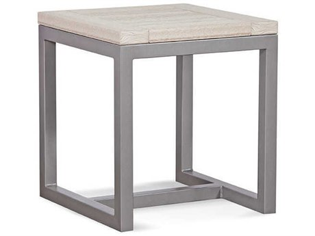 Braxton Culler Outdoor Alghero Antique Birch / Gunmetal 20'' Wide Aluminum Recycled Plastic Square End Table PatioLiving