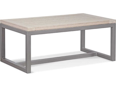 Braxton Culler Outdoor Alghero Antique Birch / Gunmetal 42'' Wide Aluminum Recycled Plastic Rectangular Coffee Table PatioLiving