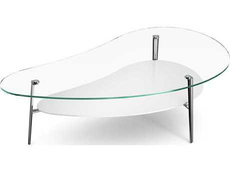 BDI Comma Polished 47.75'' x 25.25'' Clear Glass & White Coffee Table