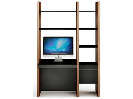 BDI Semblance Office 51L x 79.5H Two-Section Bookcase with Inline Desk