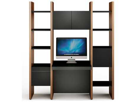 BDI Semblance Office 68L x 79.5H Three-Section Bookcase with Inline Desk