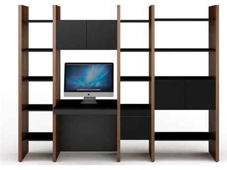 BDI Semblance Office 100L x 79.5H Four-Section Bookcase with Inline Desk