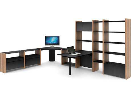 BDI Semblance Office 107'' x 16.5'' Seven-Section Corner Desk & Peninsula Desk with Bookcase