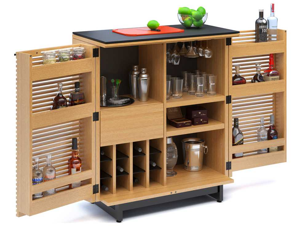 bdi corridor 36 39 39 x 18 5 39 39 white oak compact bar cabinet. Black Bedroom Furniture Sets. Home Design Ideas
