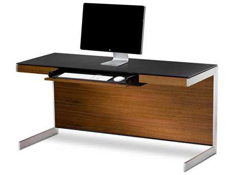 BDI Sequel 60'' x 24'' Rectangular Natural Walnut Computer Desk with Back Panel