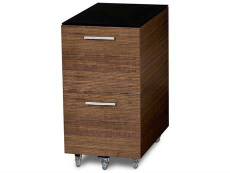 BDI Sequel 15.25'' x 24'' Natural Walnut Two Drawer Mobile Pedestal File Cabinet