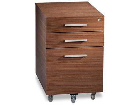 BDI Sequel 15.25'' x 21'' Natural Walnut Three Drawer Mobile Locking File Cabinet