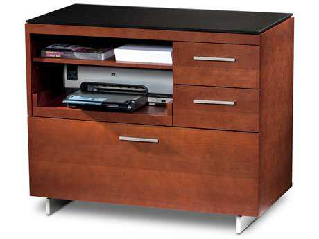 BDI Sequel 35'' x 18'' Natural Stained Cherry Three Drawer Multi-Function File Cabinet