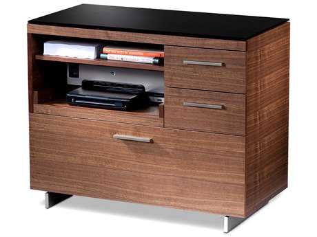 BDI Sequel 35'' x 18'' Natural Walnut Three Drawer Multi-Function File Cabinet