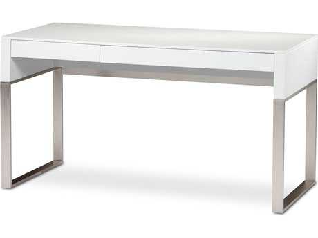 BDI Cascadia 54.25'' x 24 '' Rectangular Satin White Reversible Two Drawer Computer Desk