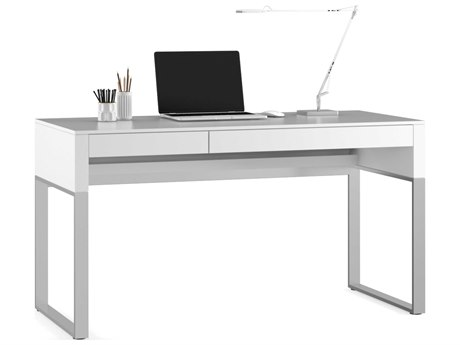 BDI Cascadia 54'' x 24'' Rectangular Satin White Reversible Two Drawer Computer Desk