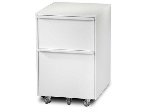 BDI Cascadia 16'' x 18'' Satin White Mobile Pedestal File Cabinet