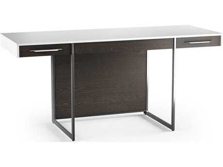 BDI Format 64.25''L x 24.25''W Rectangular Satin White & Charcoal Computer Desk