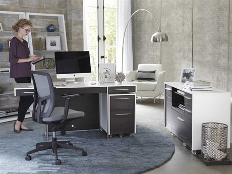 BDI Format 64''L x 24''W Rectangular Satin White & Charcoal Computer Desk