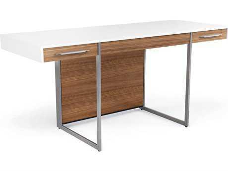 BDI Format 64.25'' x 24.25'' Rectangular Satin White & Natural Walnut Three Drawer Computer Desk