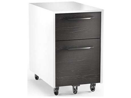 BDI Format 15.25''L x 24.25''W Satin White & Charcoal Mobile Two-Drawer File Pedestal