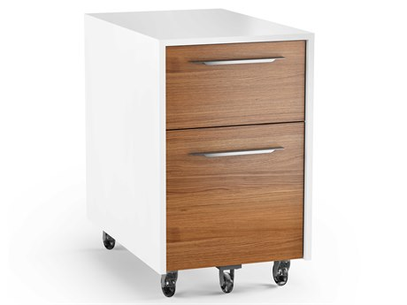 BDI Format 15.25'' x 24.25'' Satin White & Natural Walnut Two Drawer Mobile Pedestal File Cabinet