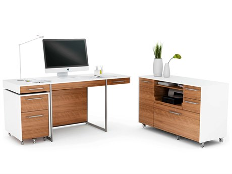 BDI Format 48'' x 18.5'' Satin White & Natural Walnut Mobile Credenza