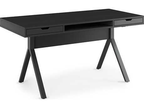 BDI Modica 60''L x 28''W Rectangular Charcoal Stained Ash Two Drawer & Slot Computer Desk