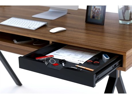 BDI Modica 60'' x 28'' Rectangular Natural Walnut Two Drawer & Slot Computer Desk