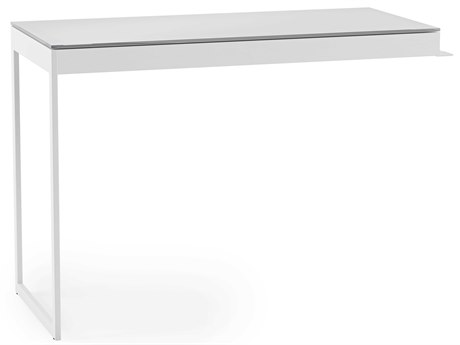 BDI Centro 41''L x 18''W Satin White & Gray Etched Glass Return BDI6402SWGRY