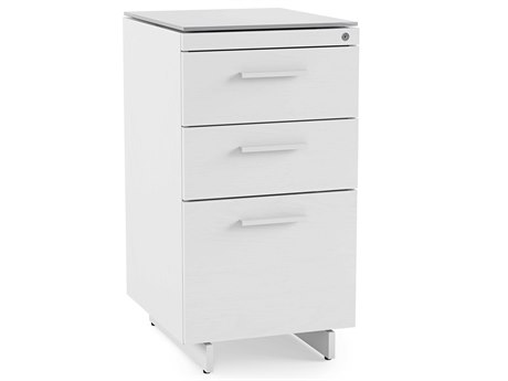 BDI Centro 15.5''L x 18''W Satin White & Gray Etched Glass Three-Drawer Cabinet