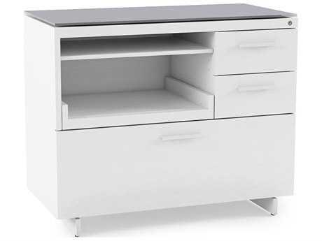 BDI Centro 35''L x 18''W Satin White & Gray Etched Glass Multi-Function Cabinet
