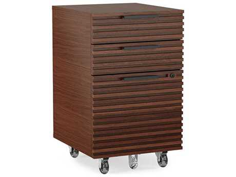 BDI Corridor Office 15.5''L x 21.5''W Chocolate Stained Walnut Three-Drawer Mobile File Pedestal