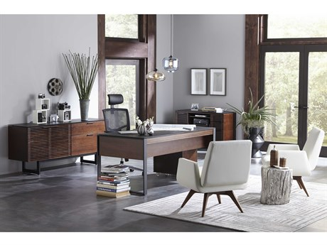 BDI Corridor Office 68''L x 32''W Chocolate Stained Walnut Three-Drawer Desk