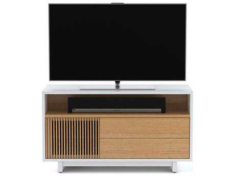 BDI Vertica 54'' x 18'' Satin White & White Oak Wide Tall TV Console