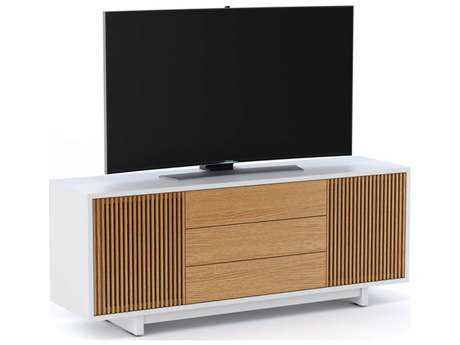 BDI Vertica 73.5'' x 20'' Satin White & White Oak Wide Tall TV Console