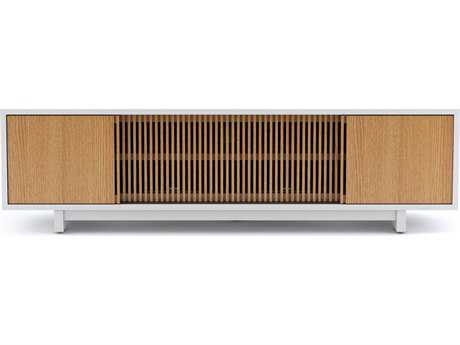 BDI Vertica 79'' x 20'' Satin White & White Oak Low TV Console